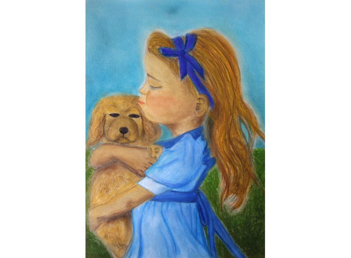 puppy love, girl cuddling dog, pastel drawing design